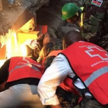 A baby girl found a live in collapsed Huruma building