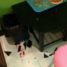 Woman crash in glass table while having some 'good' time with a man
