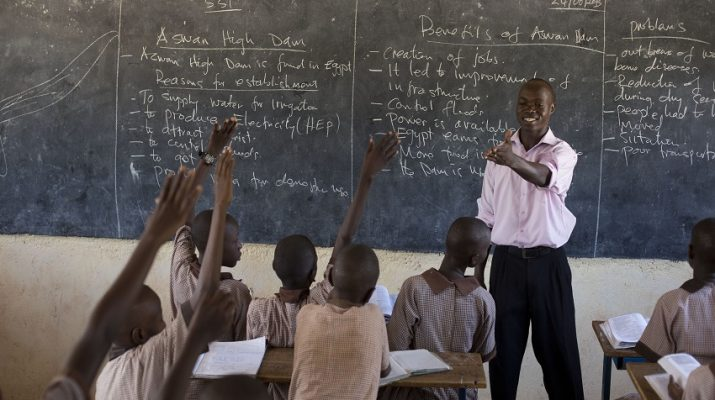 Teacher Bonafice Kapian from the private AIC Nakuluja Academy teaches students in Lodwar , Turkana, Kenya, 25 June 2013. Bonafice supplement his teachers salary with his small shop that his wife manage in the week and he manage at weekends. Picture/Karel Prinsloo/ ARETE