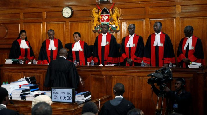 Kenyan Supreme Court judges arrive for a hearing of a petition challenging the election result filed by the National Super Alliance (NASA) coalition and Human Rights groups at the Supreme Court in Nairobi, Kenya August 28, 2017. REUTERS/Baz Ratner